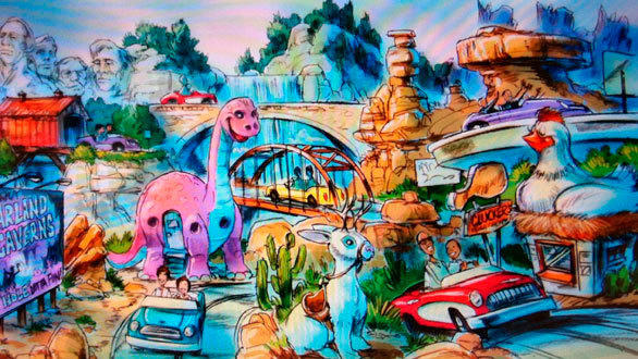 Concept art of the Road Trip USA ride envisioned for Carland at Disney California Adventure.