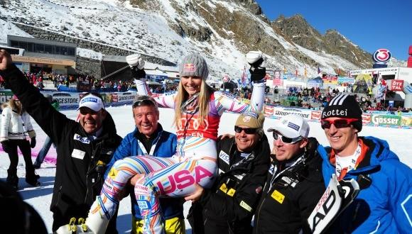 Lindsey Vonn gets a victory ride from U.S. coaches (U.S. Ski Team photo)