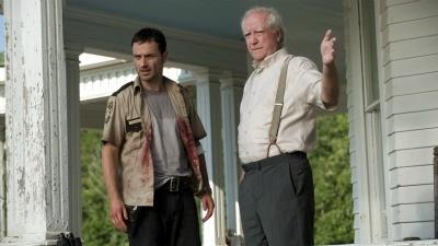 Hershel Greene (Scott Wilson) talks with Rick Grimes (Andrew Lincoln) about life, and death, on the farm.