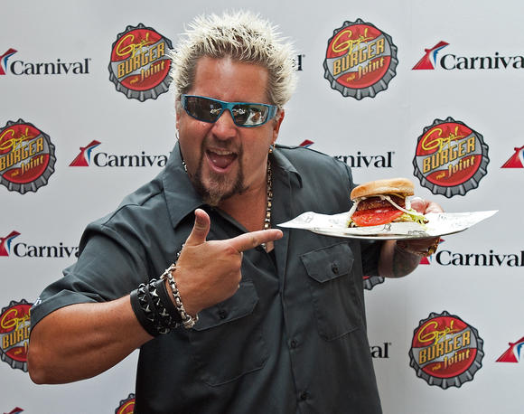 Food Network star Guy Fieri and signature burger