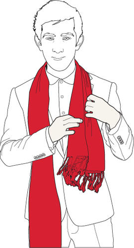 Start with the scarf draped around your neck, with one side longer than the other.