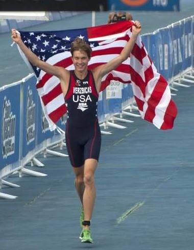 Lukas Verzbicas celebrates his world junior triathlon victory last month.  (Associated Press)