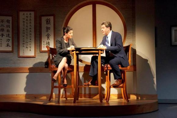 "Jennifer Lim and Gary Wilmes in the Broadway production of David Henry Hwang's ""Chinglish."""