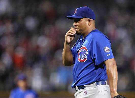 Carlos Zambrano reacts after throwing a pitch that got him ejected from the game against the Braves at Turner Field.