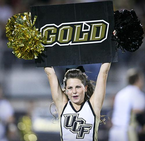 UCF cheer leaders perform during second quarter action of a C-USA game against Tulsa at the Brighthouse Networks Stadium on Thursday, November 03, 2011 in Orlando, Fla.