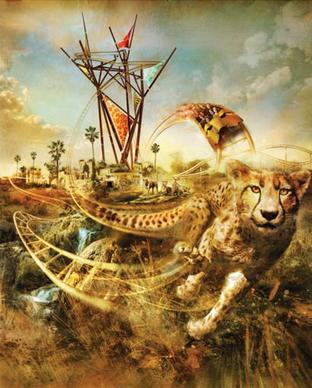 "Conceptual art for Cheetah Hunt includes a stylized face on the coaster's train. Riders can expect to be ""one and the same as a cheetah."""