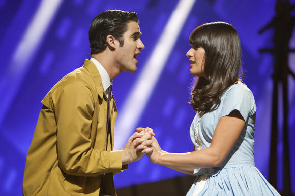 Blaine and Rachel belt it out as Tony and Maria in West Side Story.