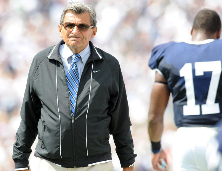 Penn State's coach Joe Paterno shown on the sideline against Akron in their game at Beaver Stadium in University Park in September, 2009.