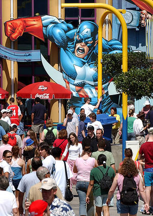 Capt. America appears to hover over guests walking through SuperHero Island at Universal Orlando's Islands of Adventure park on March 17, 2004.