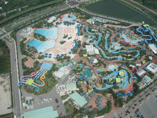 A helicopter-eye's view of Aquatica, SeaWorld's water park
