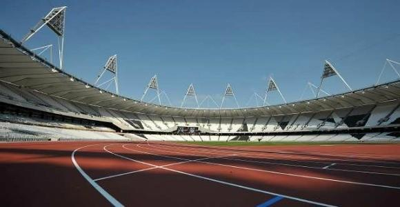 The track at London's 2012 Olympic Stadium at its Oct. 3 unveiling. (Ben Stansall / Getty Images)