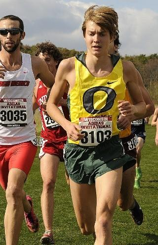 Lukas Verzbicas in one of his two cross-county meets for Oregon.  (Ken Moreland photo)