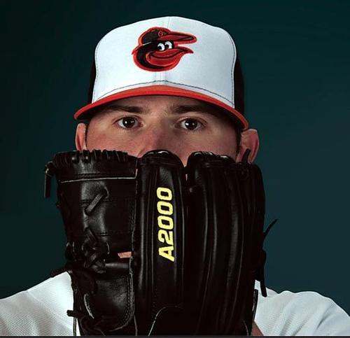 Zach Britton shows off the the new Orioles cap.