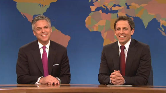 Jon Huntsman and Seth Meyers