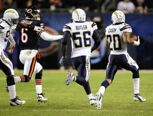 Chicago Bears quarterback Jay Cutler (6) chases down San Diego Chargers cornerback Antoine Cason (20) after being intercepted in the 4th quarter at Soldier Field.