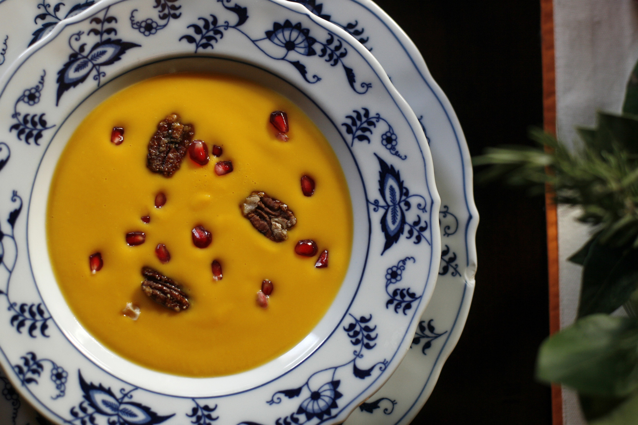 Photos: 97 great Thanksgiving recipes - Kabocha squash soup with pomegranate seeds and spicy candied pecans