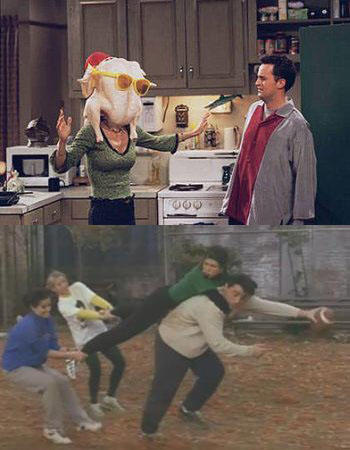 25 classic Thanksgiving TV episodes and specials: Friends was quite possibly the perennial pinnacle of Turkey Day episodes. Underdog gets away, Joey has VD, the football game, the Geller cup, Chandlers in a box, Monica dates Richards son, Phoebe is an 1862 medic, Monica gets thin, Chandler loses a toe, Joey puts a turkey on his head, Rachel makes a trifle, Phoebe fantasizes about Jack, Ross has to name all the states, Brad Pitt guest stars, Rachels sister shows up and Monica and Chandler get the news they can adopt a baby. Its a big holiday for Friends.