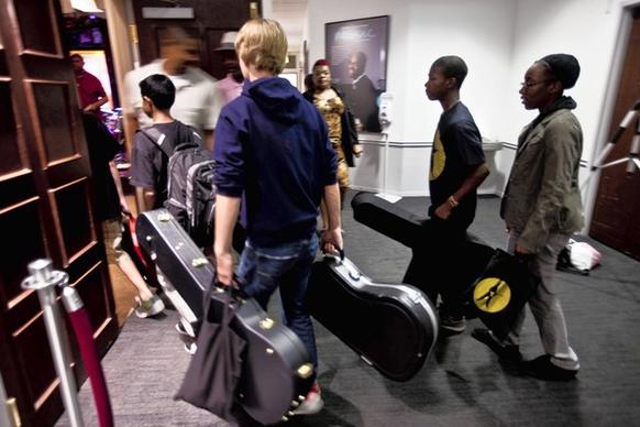 Blues Camp participants arrive at Concert Hall at Columbia College Chicago on the first day of a six-day summer camp organized by Fernando Jones.