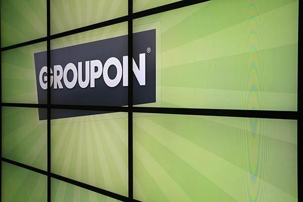 Groupon's logo inside its Chicago office.