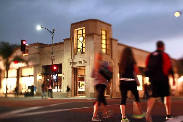 Tiffany & Co. is one of the stores along Colorado Boulevard in Old Pasadena.