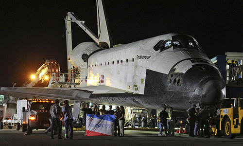 After a safe landing early Wednesday morning, June 1, 2011, space shuttle Endeavour sits on the runway at Kennedy Space Center as the shuttle program comes to an end.