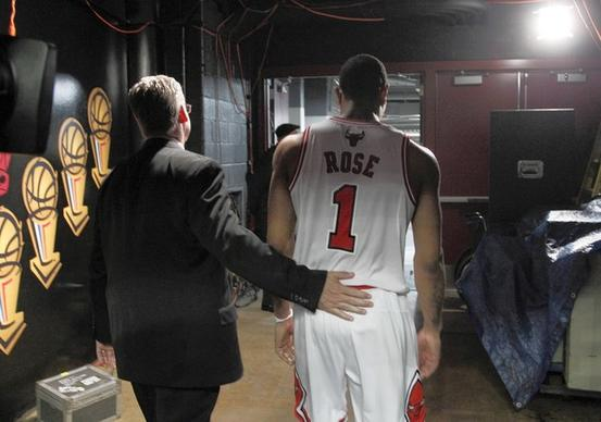 Derrick Rose leaves the court after his team's loss to the Heat in Game 5.