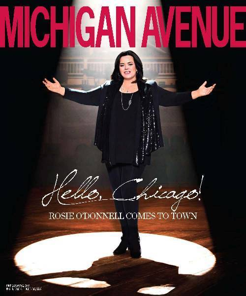 Rosie O'Donnell on the cover of Michigan Avenue magazine.