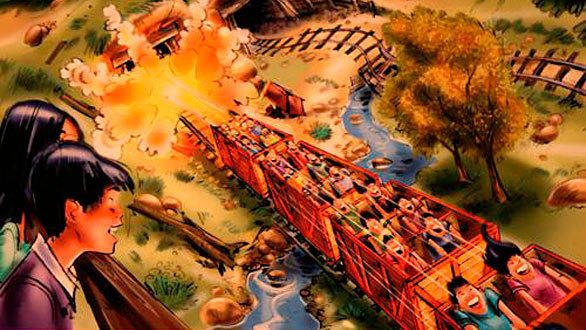 The Frontierland-like gold mining town features the Big Grizzly Mountain roller coaster. The runaway mine train ride begins with a twisting and turning backward decline before launching forward and upward around the mountain.