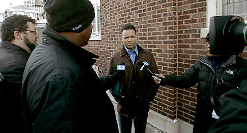 U.S. Rep. Jesse Jackson Jr. speaks with members of the press in response to the continued investigation surrounding his involvement with the political corruption allegations made against Ill. Gov. Rod Blagojevich.
