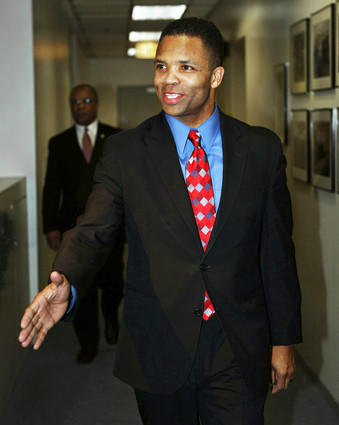 U.S. Rep. Jesse Jackson Jr. leaves the downtown Chicago office of Illinois Gov. Rod Blagojevich after meeting with the governor to express his interest in the U.S. Senate seat vacated by President-elect Barack Obama.