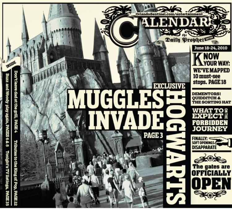 """This is the Orlando Sentinel Calendar cover for June 18, 2010 -- the opening day of the Wizarding World of Harry Potter at Universal Orlando's Islands of Adventure. <a href=""""http://www.orlandosentinel.com/harrypotter"""">Read complete coverage here.</a>"""