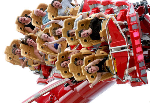 Guests thrill on the Hollywood Rip Ride Rockit roller coaster during a technical rehearsal for the new attraction at the Universal Orlando theme park.  The multimedia, immersive coaster features a 17-story marquee tower drop and speeds up to 65 mph.