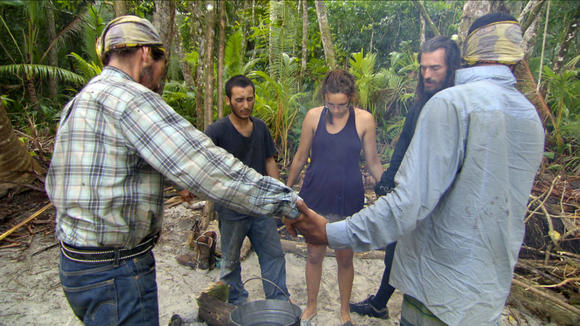 A shot of the Te Tuna tribe from the latest 'Survivor: South Pacific' episode.