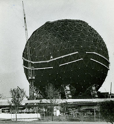 Spaceship Earth under construction, 8 months prior to Epcot's opening.