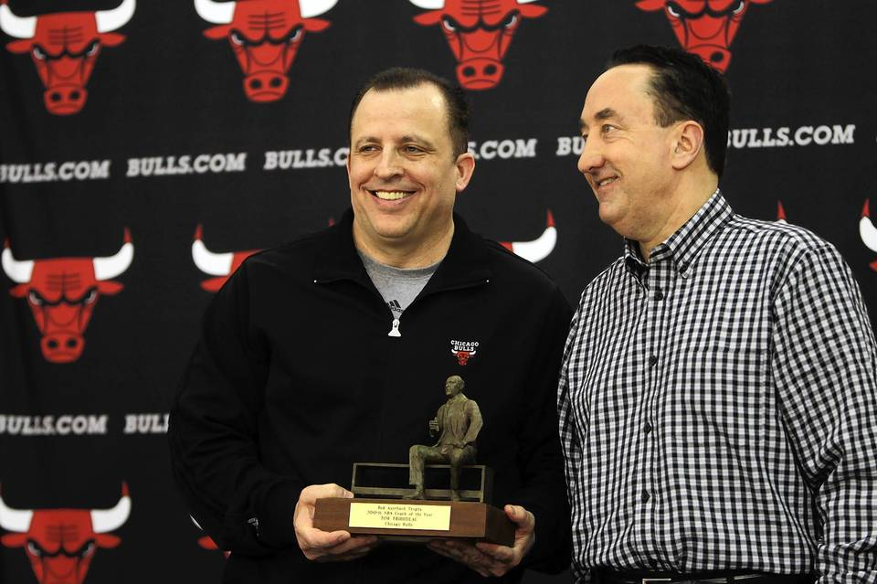 "Some team had to be the one to give coaching lifer <a class=""taxInlineTagLink"" id=""PESPT00008864"" title=""Tom Thibodeau"" href=""/topic/sports/basketball/tom-thibodeau-PESPT00008864.topic"">Tom Thibodeau</a> his first shot after toiling as an assistant coach for over 20 years. The <a class=""taxInlineTagLink"" id=""ORSPT000164"" title=""Chicago Bulls"" href=""/topic/sports/basketball/chicago-bulls-ORSPT000164.topic"">Bulls</a> did, and Thibodeau merely won Coach of the Year honors after joining <a class=""taxInlineTagLink"" id=""PESPT000009515"" title=""Paul Westphal"" href=""/topic/sports/basketball/paul-westphal-PESPT000009515.topic"">Paul Westphal</a> and <a class=""taxInlineTagLink"" id=""PEHST001744"" title=""Bill Russell"" href=""/topic/sports/basketball/bill-russell-PEHST001744.topic"">Bill Russell</a> as the only coaches to win 60 or more games in their first seasons. Thibodeau's preparation and demand for attention and accountability wrung the most out of an overachieving Bulls team."
