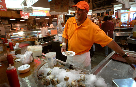 Seafood at Lexington Market.