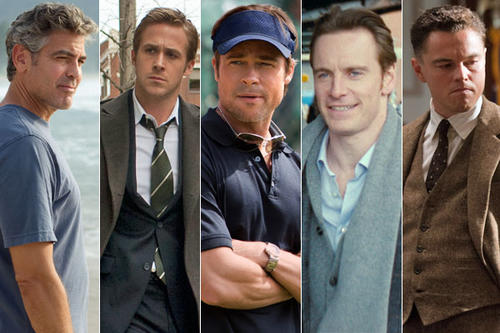 <b> HOTTEST RACE IN TOWN:</b> Not the presidential campaign but the hunk fest that is the lead actor in a drama field at the Golden Globes: George Clooney, Ryan Gosling, Michael Fassbender, Brad Pitt and Leonardo DiCaprio.