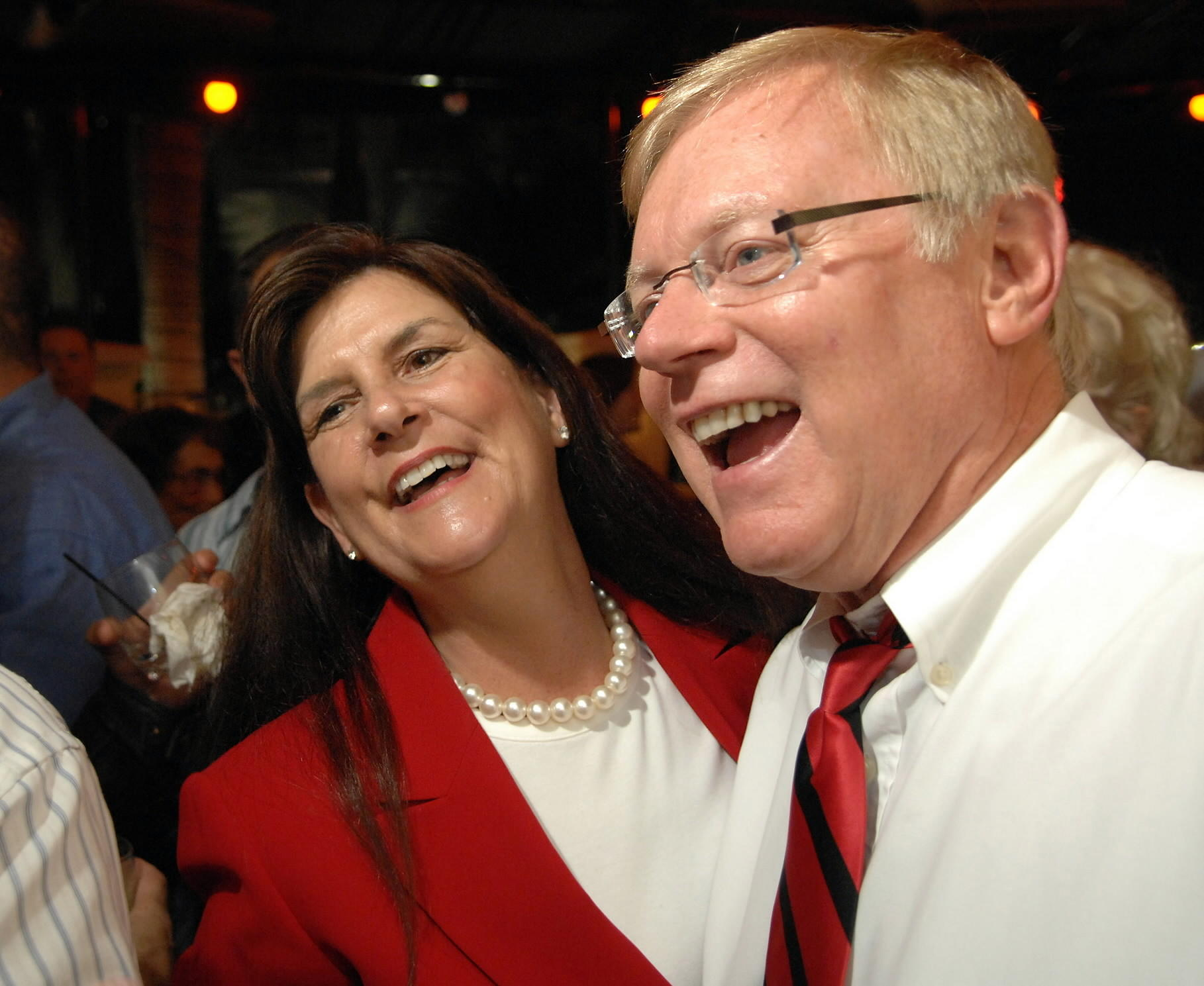 Reported net worth: $6.6 Million Susan Haynie (left) and then Boca Raton City Councilman Bill Hager (right) celebrate Haynie's win in the Boca Raton City Council - Seat A election.
