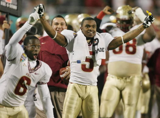 FSU cornerbacks Nick Waisome (6) and Greg Reid (5) celebrate late in the game.