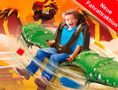 Concept art released by Legoland Deutschland shows a seated boy piloting a scaly green dragon while holding handles that control the pitch of the creature's wings.