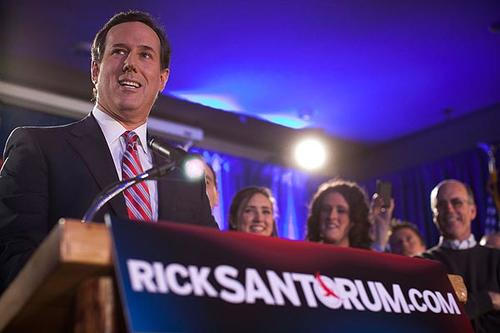 Former Pennsylvania Sen. Rick Santorum addresses a crowd at Stoney Creek Inn in Johnston, Iowa.