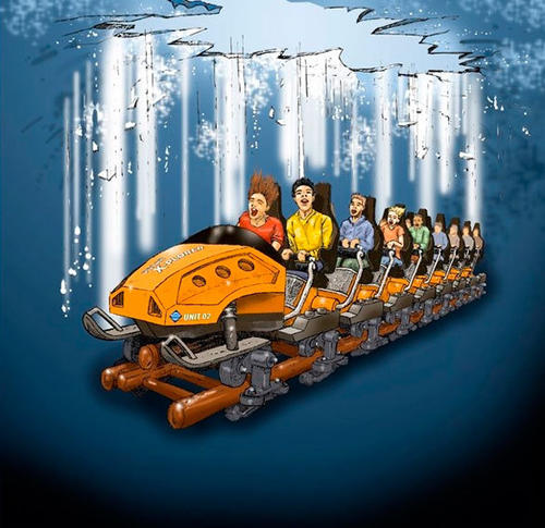 Inside the mountain, Polar X-Plorer at Legoland Billund will come to a sudden stop and the train will drop 15 feet through a simulated crack in the ice.