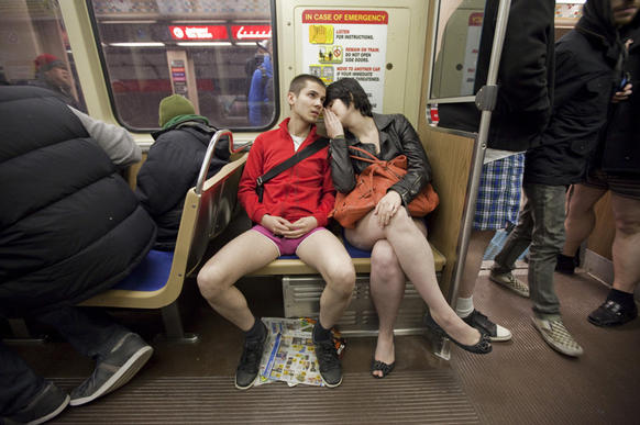 No Pants Subway Ride on January 8, 2012.