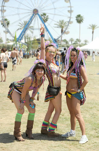 Music fans attend Day 1 of the Coachella Valley Music & Arts Festival 2011.