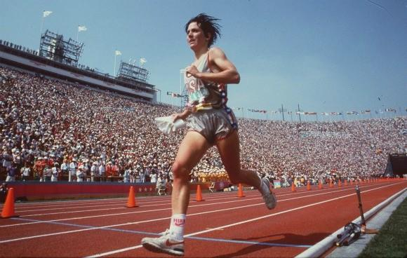 Joan Benoit Samuelson nears the finish in her 1984 Olympic marathon victory.