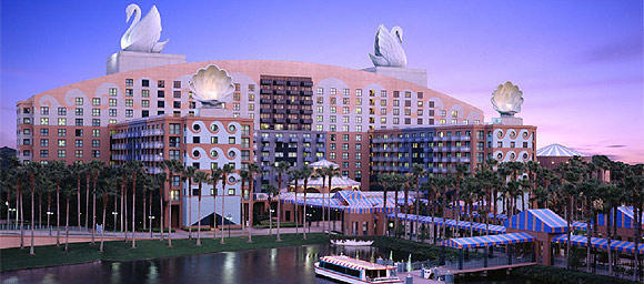Walt Disney World Swan Resort sits across Crescent Lake from its sister hotel the Walt  Disney World Dolphin Resort.