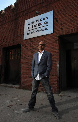 "Portrait of Ayad Akhtar, author of ""American Dervish"" a novel of growing up Muslim in America, outside the American Theater in Chicago,"