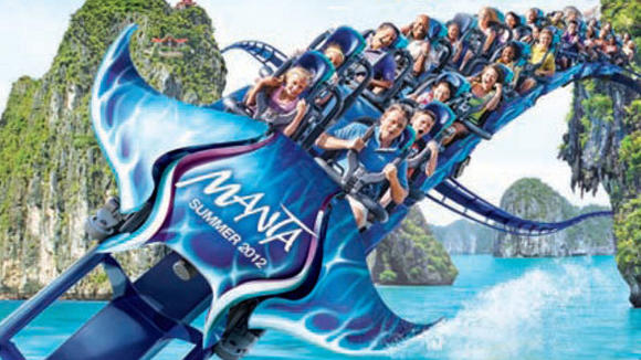 Concept art of the Manta roller coaster coming in May at SeaWorld San Diego.