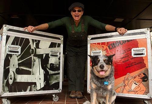 Van Halen frontman David Lee Roth and his dog Russell at their Pasadena home.