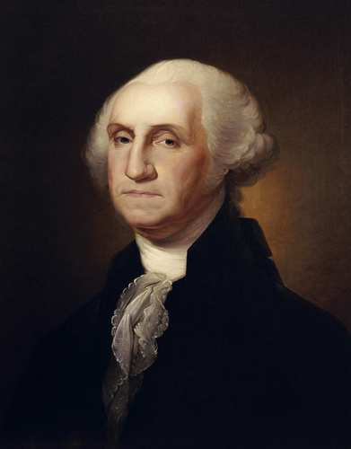 President George Washington went against the trends of his day by not wearing a wig. Instead he powdered his own hair and pulled it back, augmenting it with extra-long sideburns.
